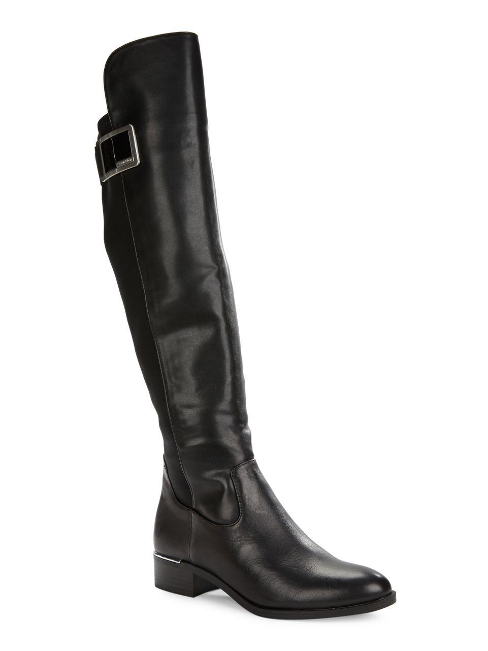 calvin klein cyra knee high leather boots in black lyst