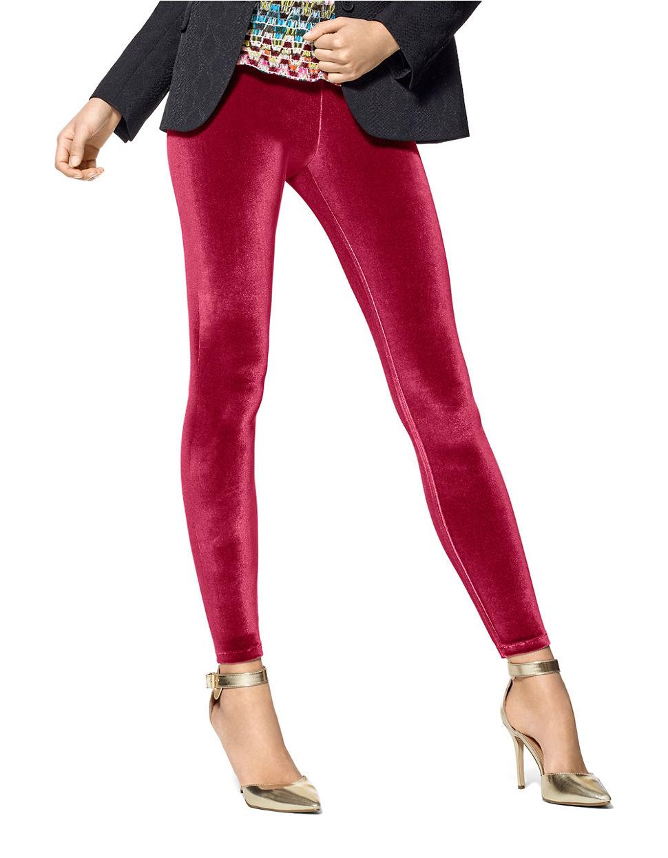 Hue Velvet Pull On Leggings In Red Lyst
