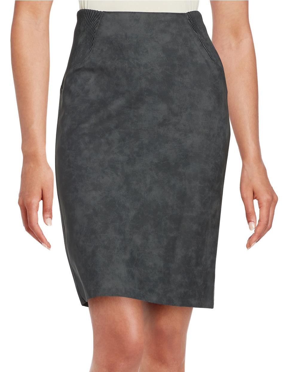 vero moda faux leather high waisted skirt in gray lyst