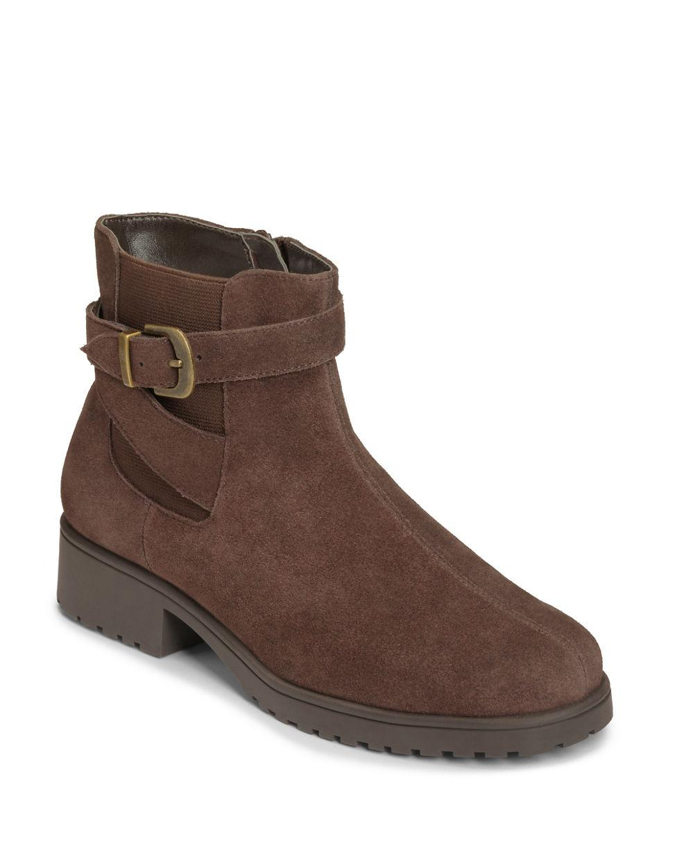 aerosoles notebook suede ankle boots in brown lyst