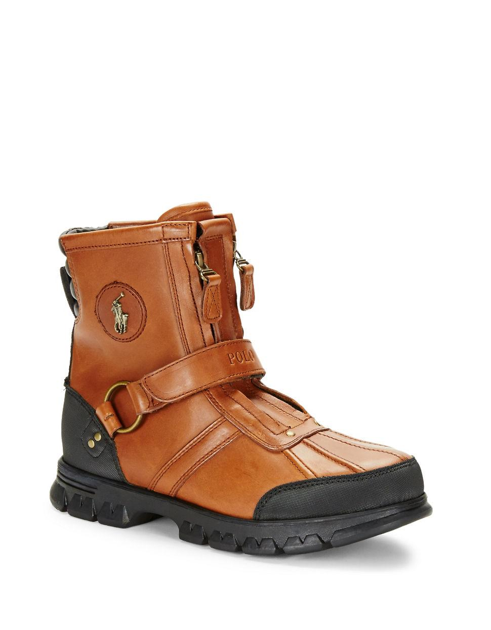 polo ralph conquest leather work boots in brown for