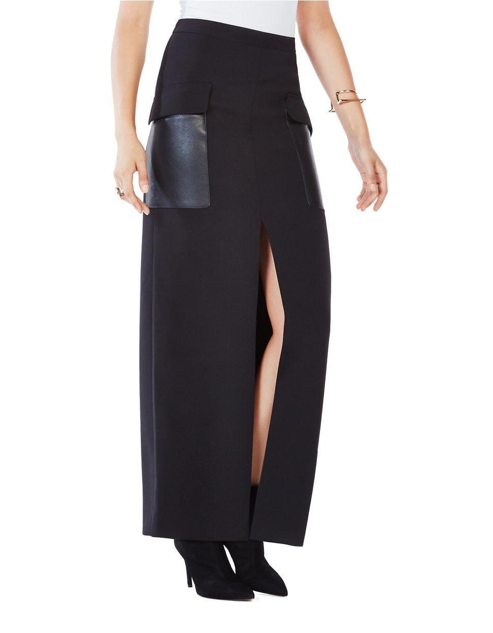 bcbgmaxazria trudy front slit maxi skirt in black lyst