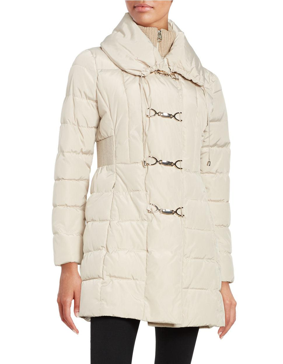Jessica Simpson Toggle Puffer Coat In White Lyst