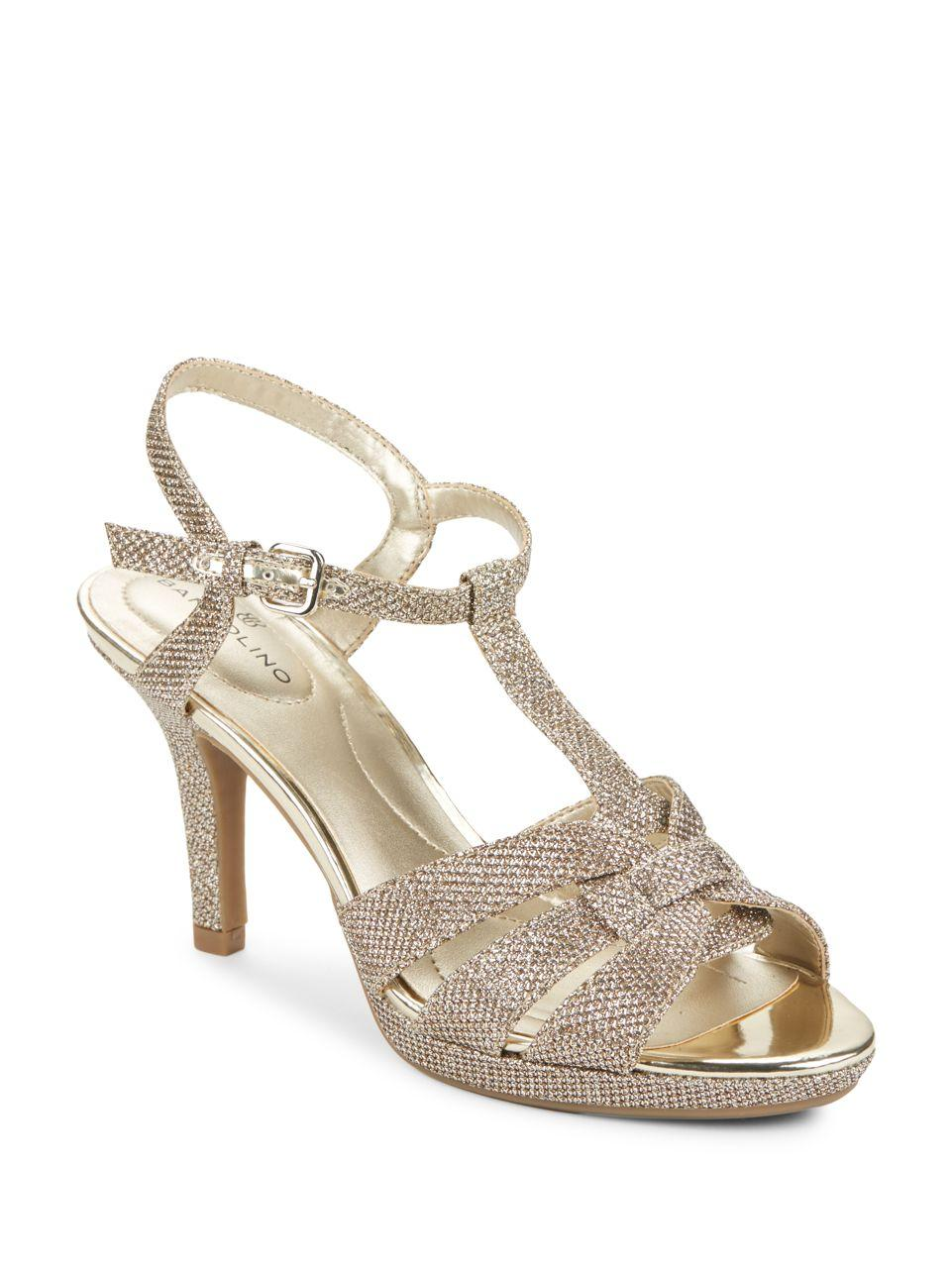Lyst Bandolino Sahari Glitter Sandals In Metallic