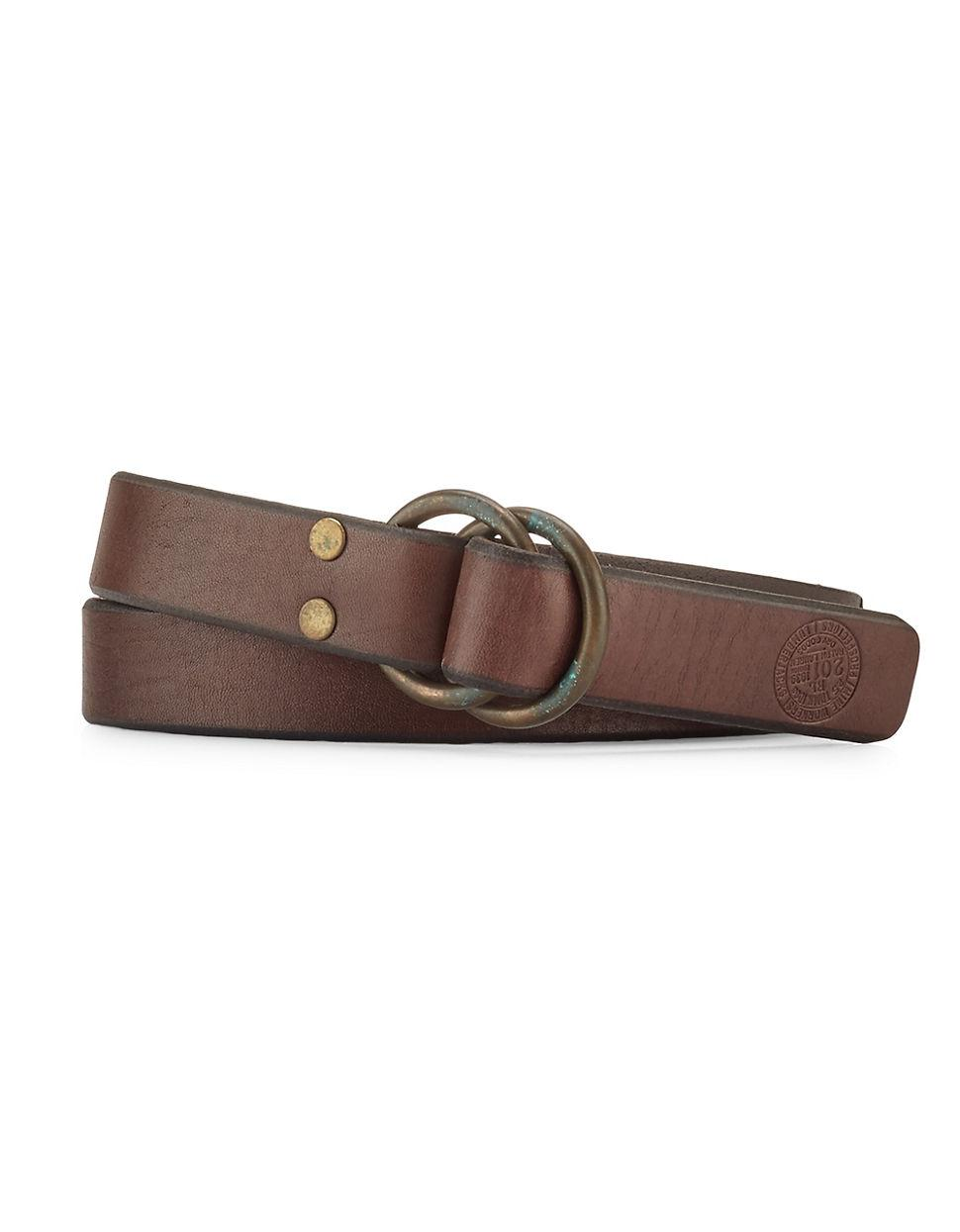polo ralph distressed leather o ring belt in brown