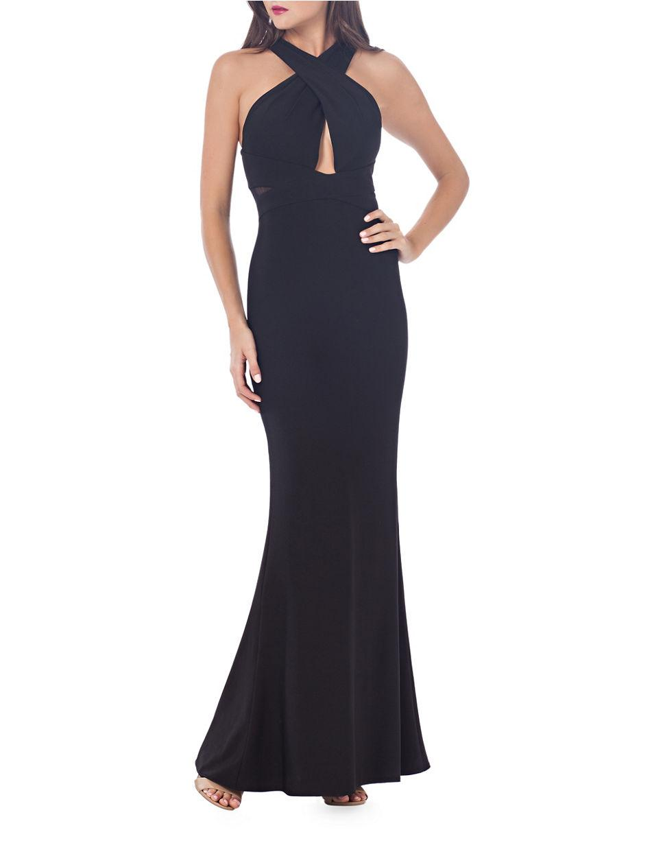 Lyst - Js collections Halterneck Crisscross Back Evening Gown in Black