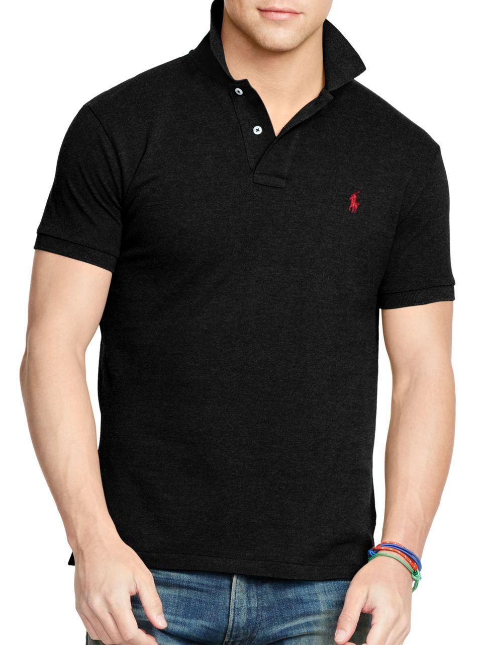Polo Ralph Lauren Slim Fit Mesh Polo In Black For Men Lyst