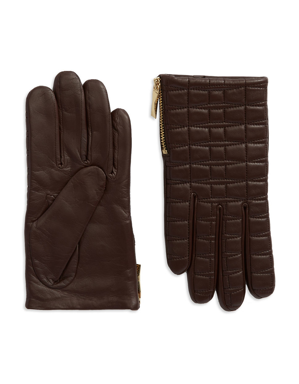 Quilted leather driving gloves - Kate Spade New York Women S Brown Quilted Leather Driving Gloves