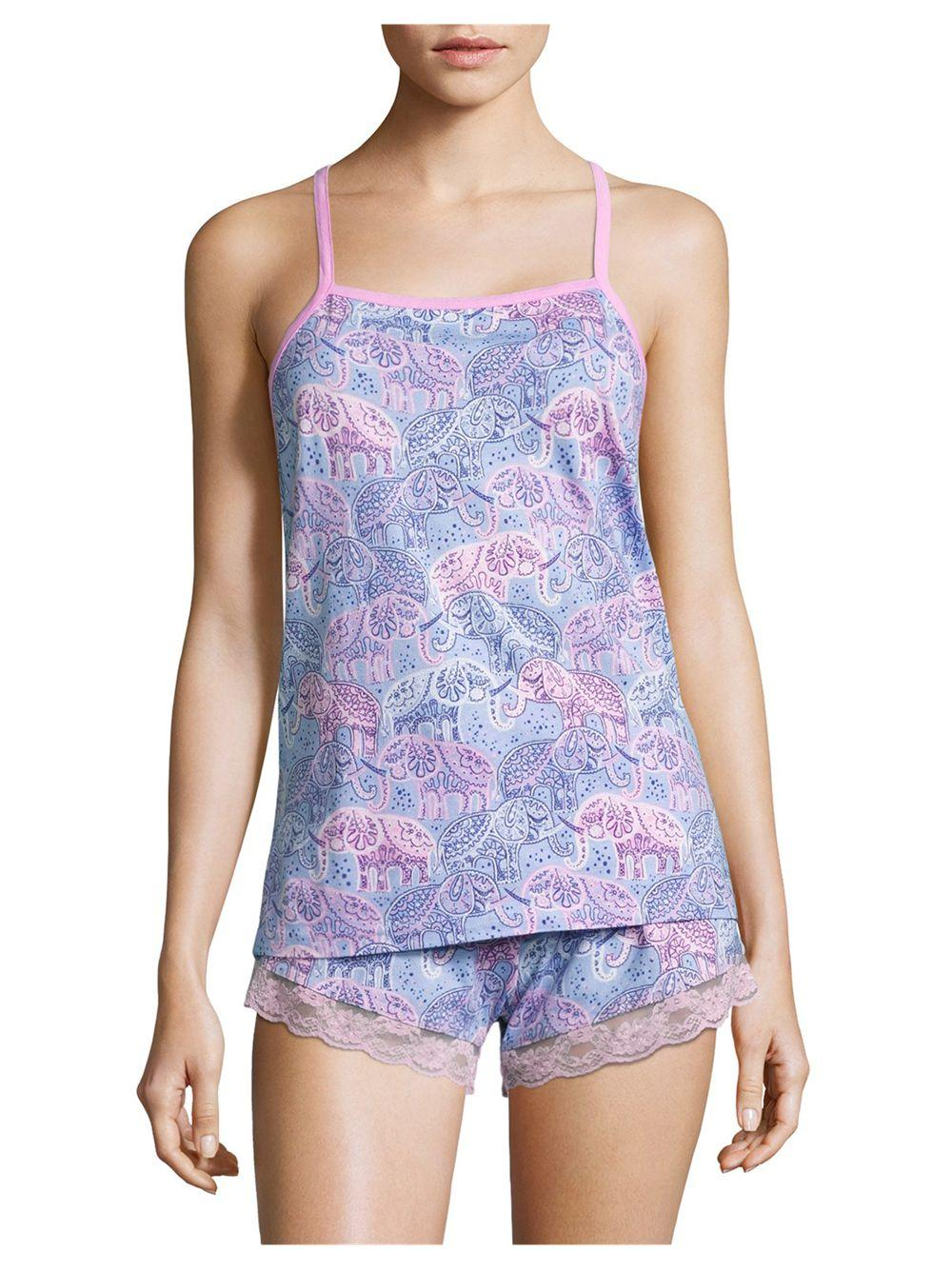 munki munki lace elephant jersey tank top and shorts in blue
