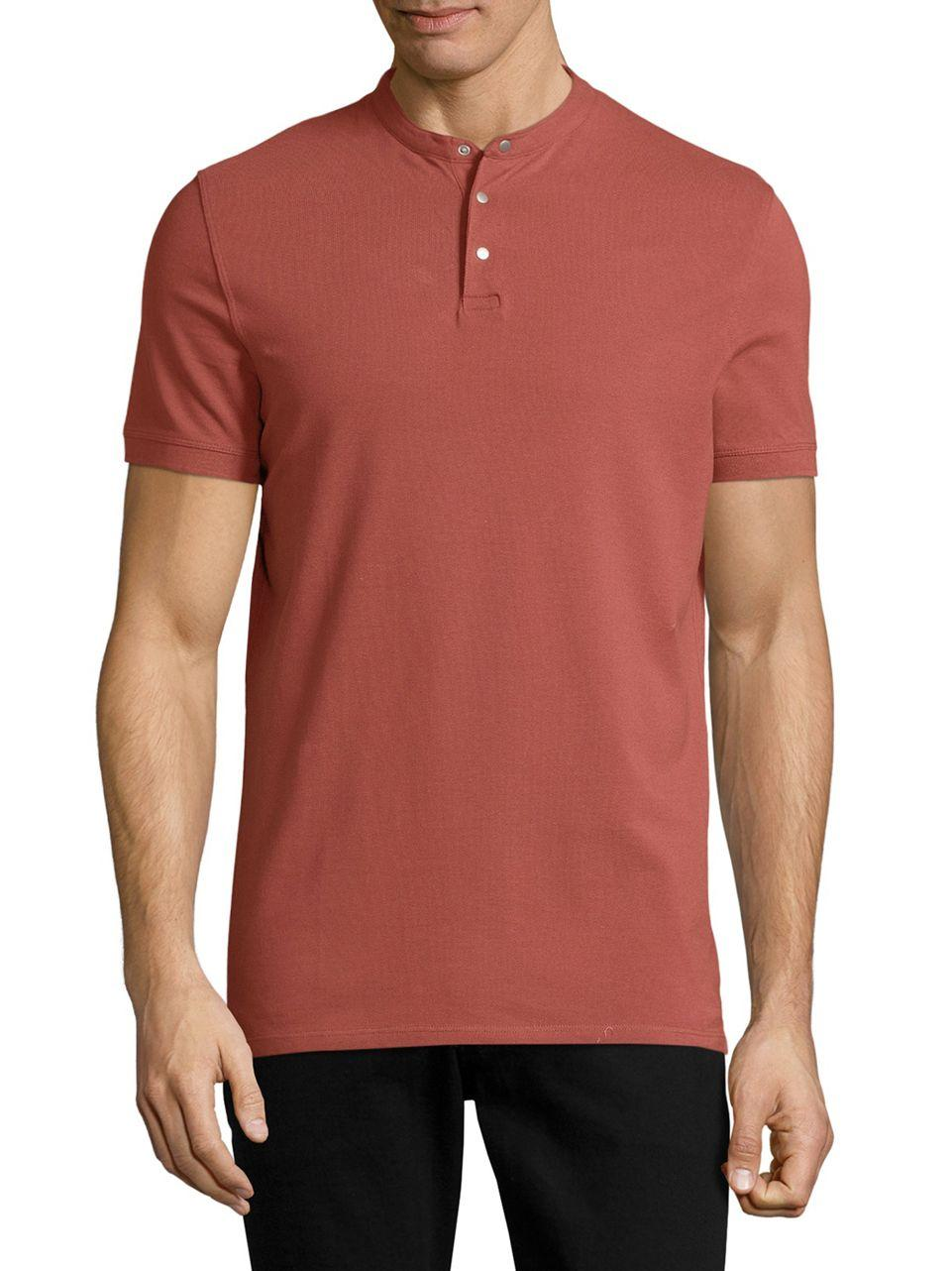 Selected Collarless Cotton Polo Shirt In Red For Men Lyst