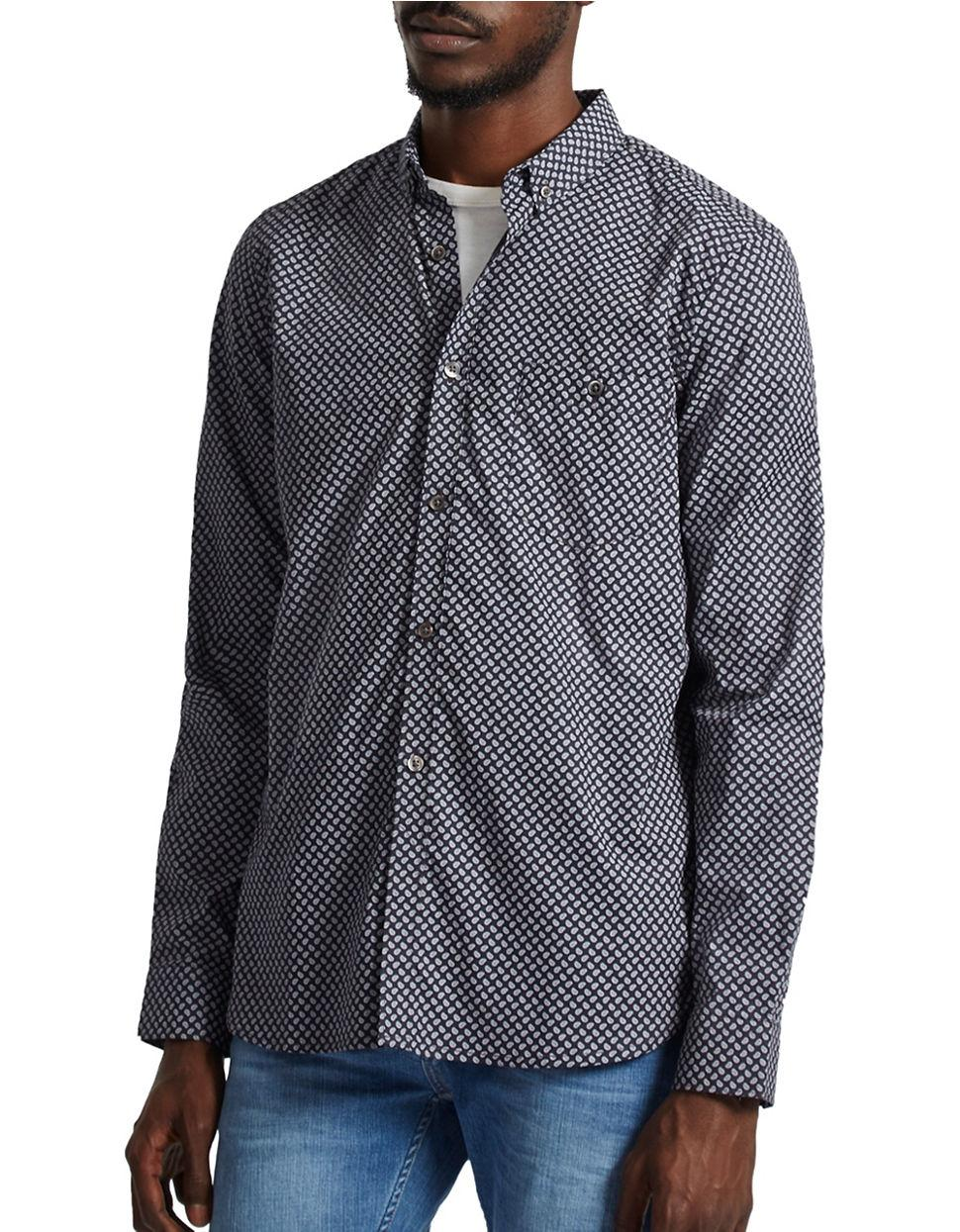 Lyst french connection long sleeve print shirt in blue for French cut shirt sleeve