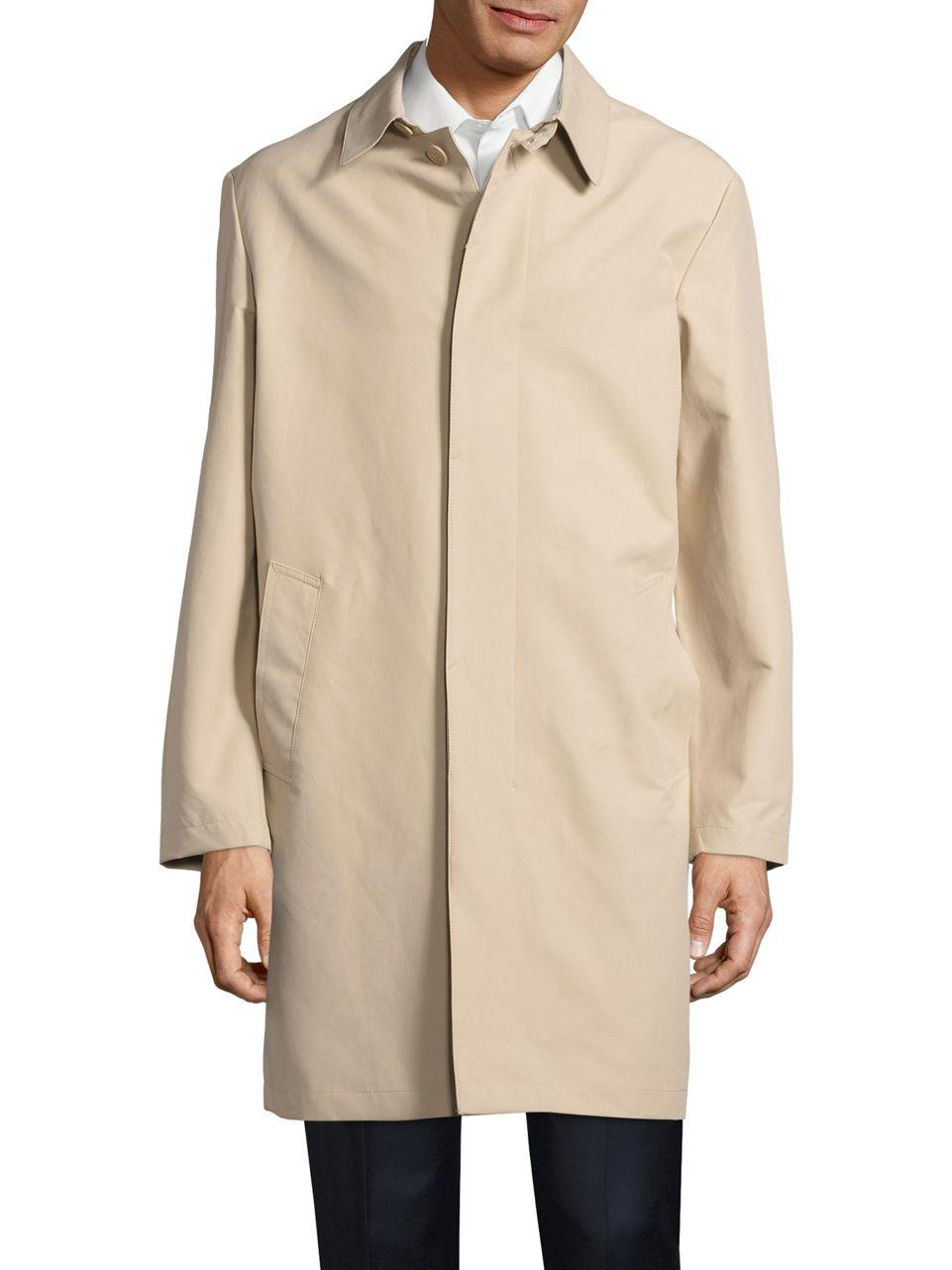 Cole Haan Topper Button front Trench Coat In Natural For