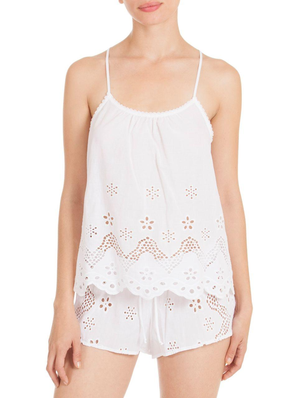 Lyst In Bloom Eyelet Lace Cotton Pajamas In White
