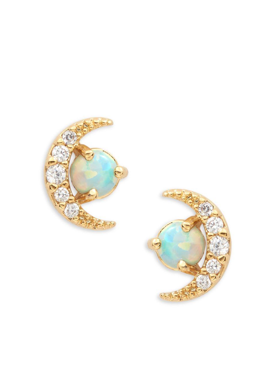 Tai Jewelry Rectangular opal CZ Stud Aqua enAJtL6DyL