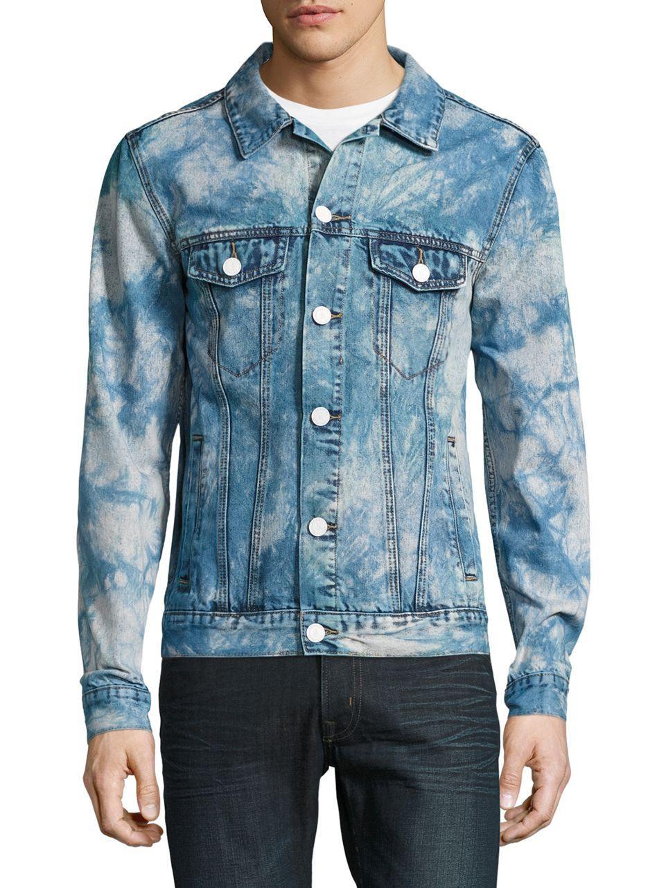 lyst reason logo denim jacket in blue for men