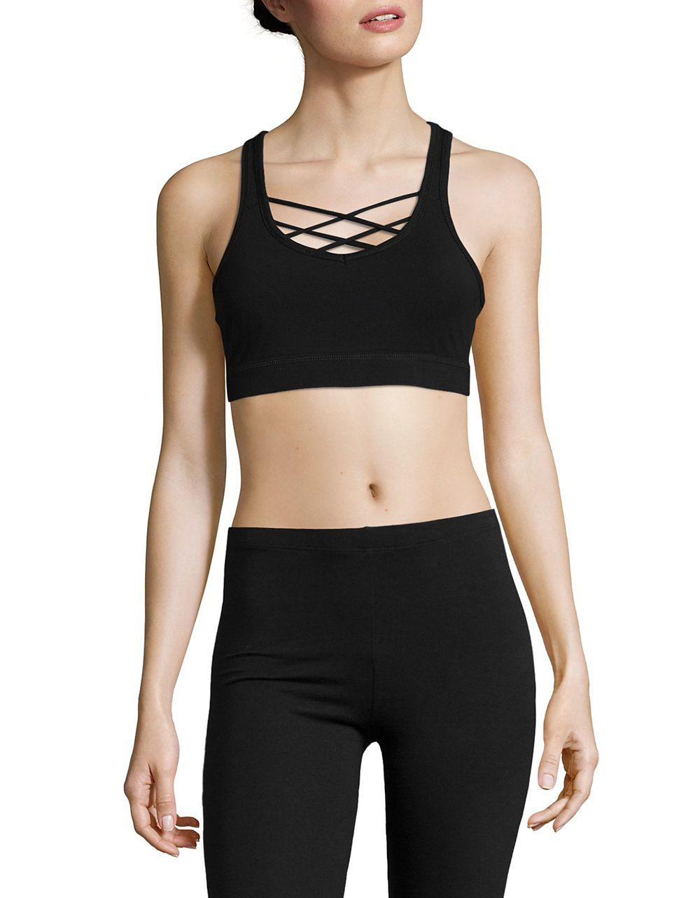 calvin klein strap accented sports bra in black lyst. Black Bedroom Furniture Sets. Home Design Ideas