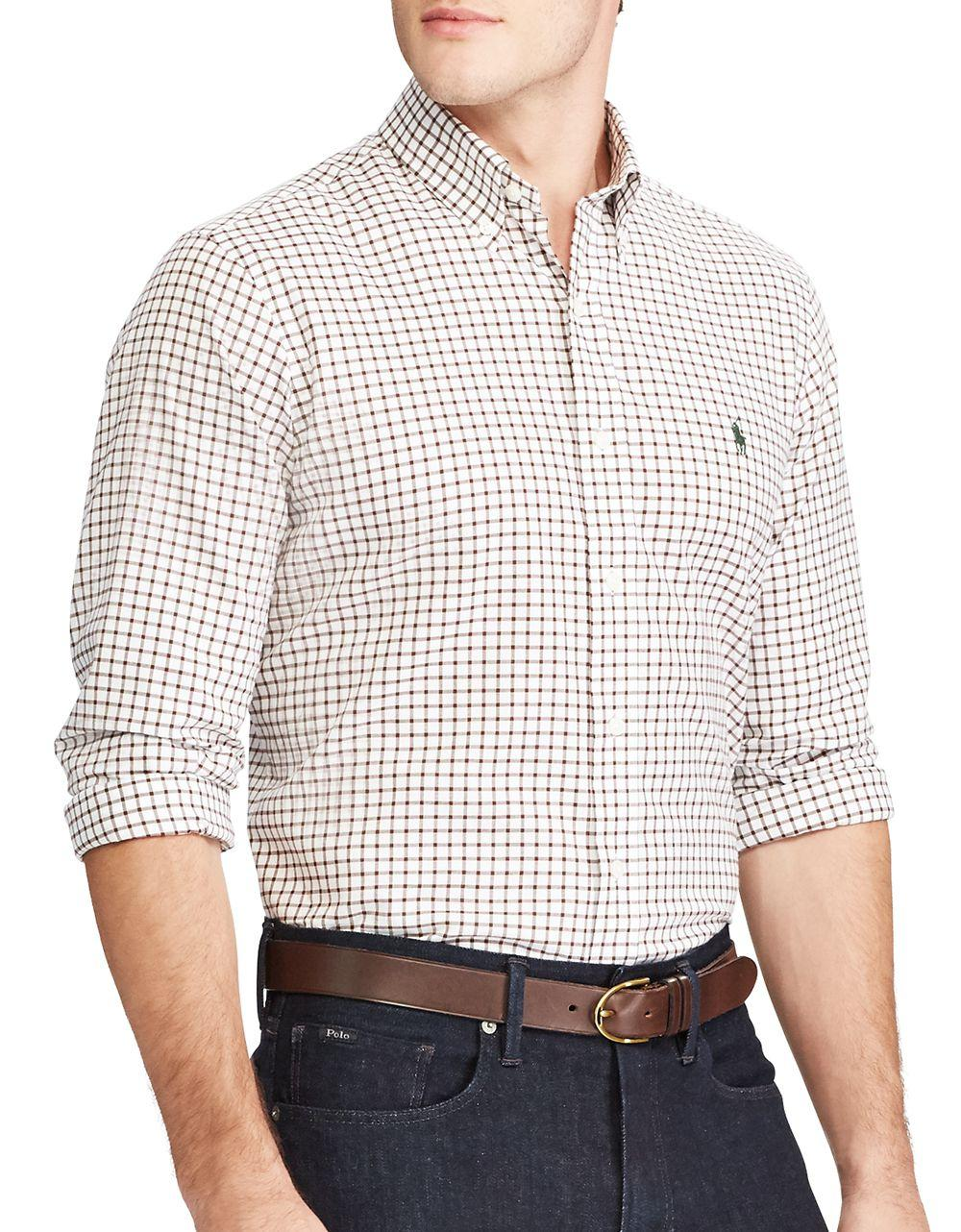 Polo ralph lauren gingham cotton casual button down shirt for Polo ralph lauren casual button down shirts