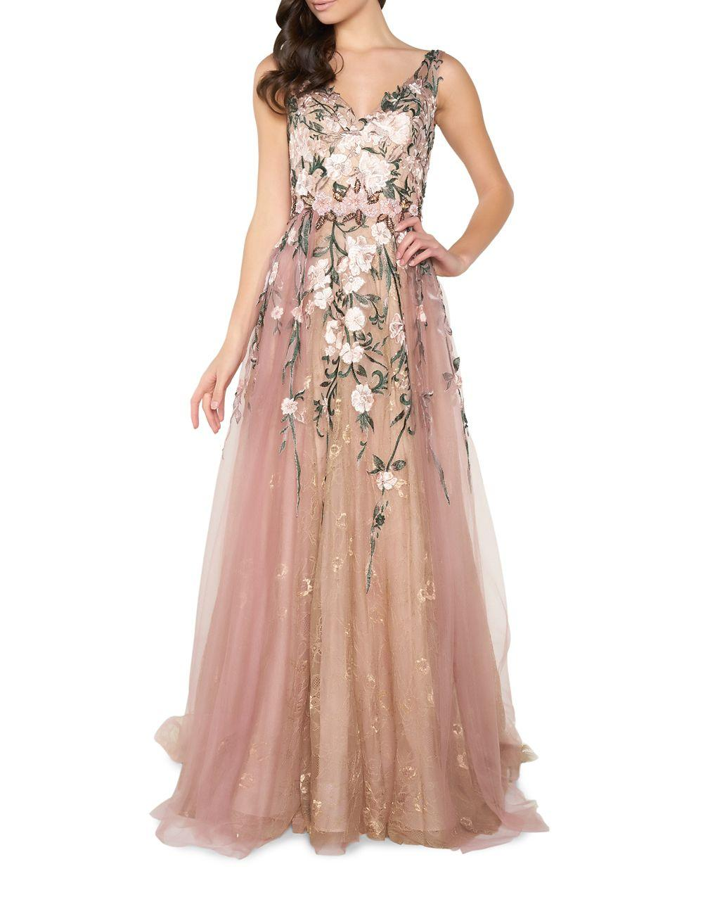 9b25a7ebc64d Mac Duggal Floral Embroidery Floor-length Gown in Pink - Lyst