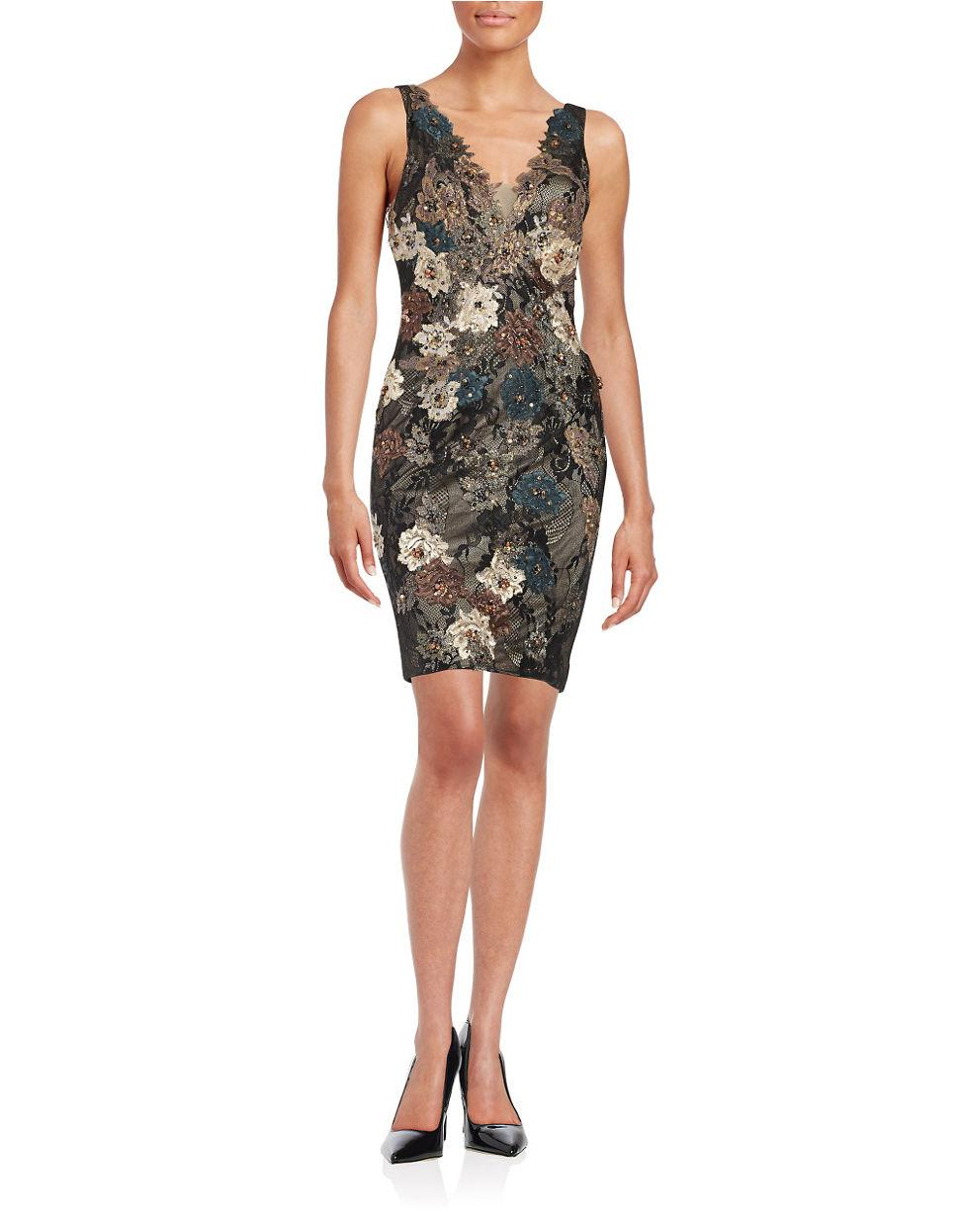 Julian Joyce By Mandalay Floral Lace Sequined Dress In