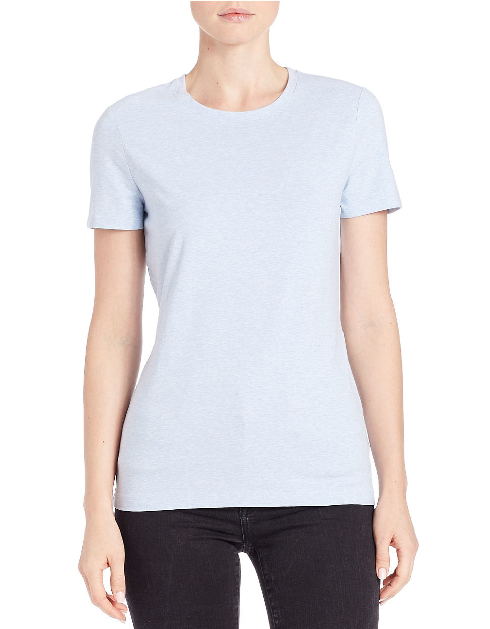 6603e08715573 Lord   Taylor Petite Crewneck Tee in Blue - Lyst