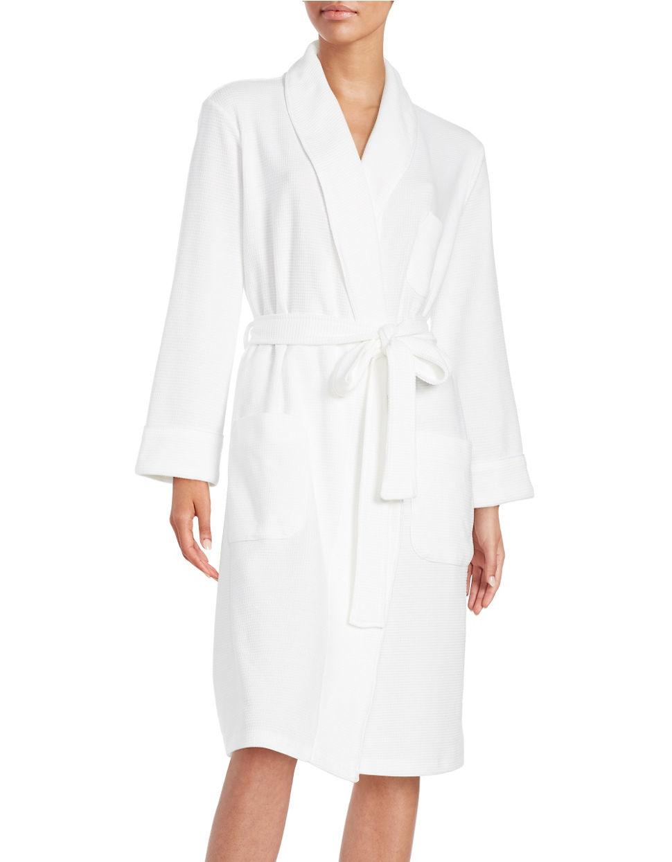 5b0aafda0fd8f Lyst - Lord & Taylor Waffle Knit Robe in White