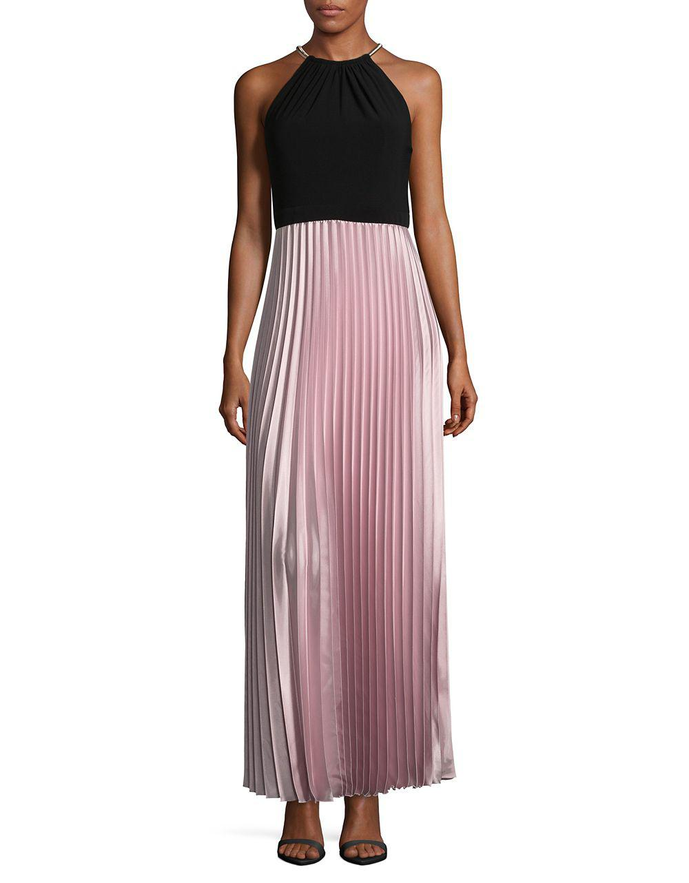 Lyst - Xscape Halter Dress With Pleated Skirt in Pink