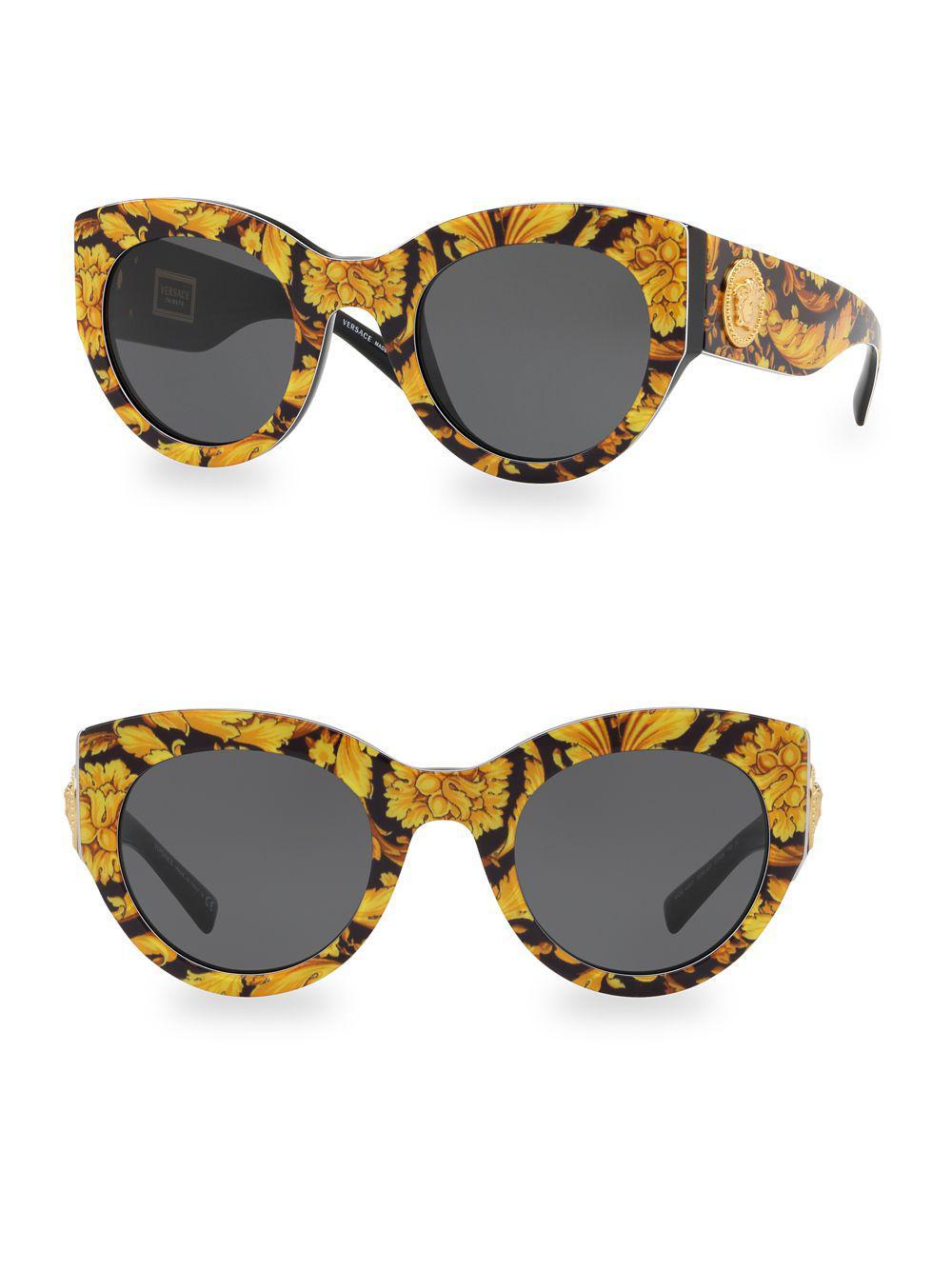 9e7565af629d Versace 51mm Cat Eye Sunglasses in Black - Lyst