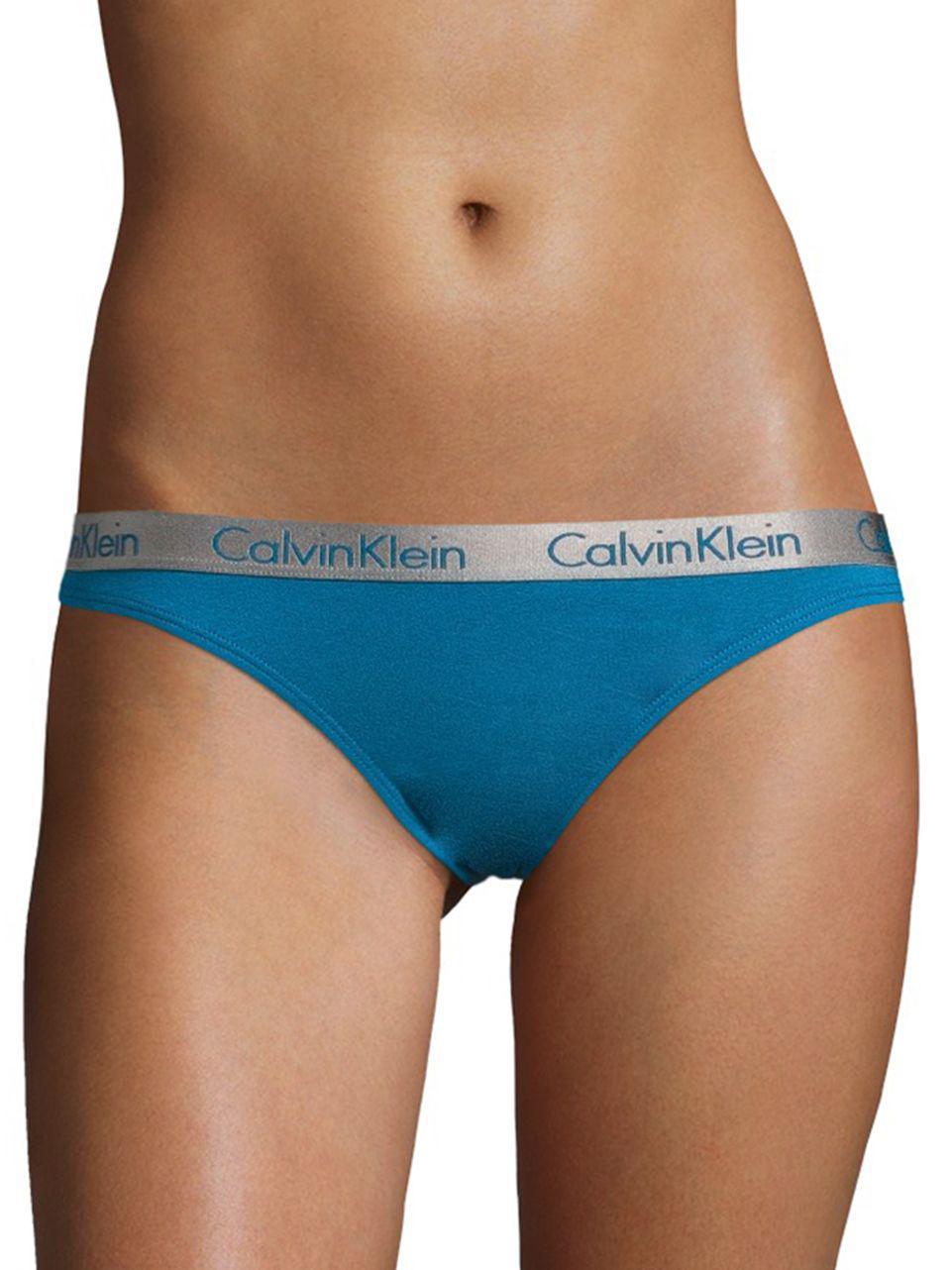 b5d380ba7f Lyst - Calvin Klein Radiant Cotton Thong in Blue