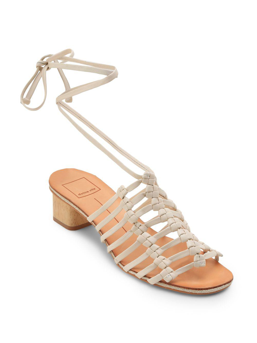 8edf7a72efd Dolce Vita - White Kai Leather Macramé Sandals - Lyst. View Fullscreen