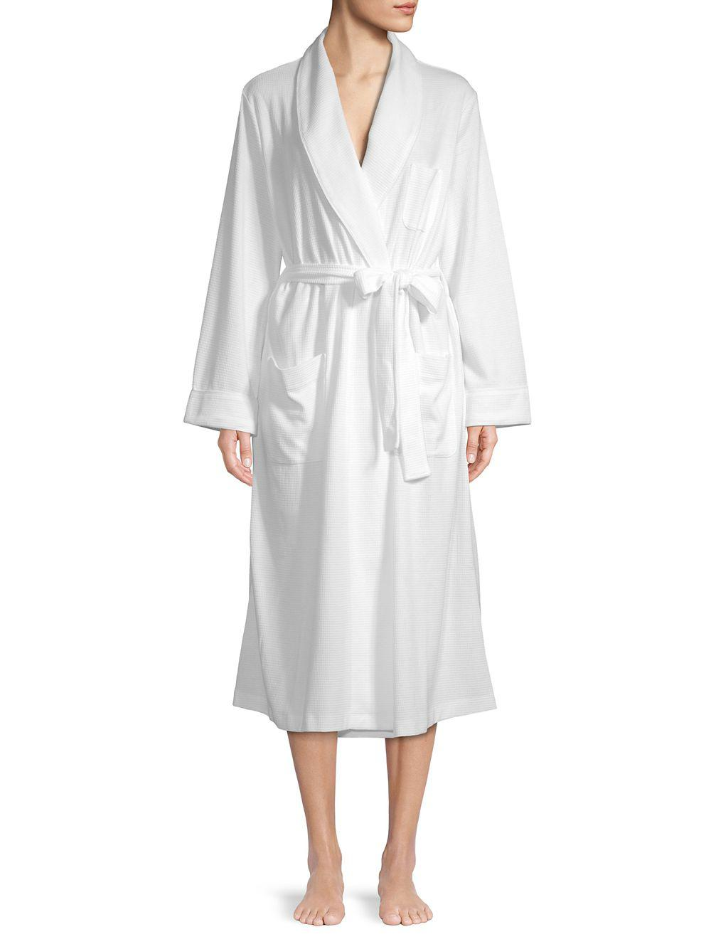 707a46e5e3c17 Lyst - Lord & Taylor Long Waffle Robe in White