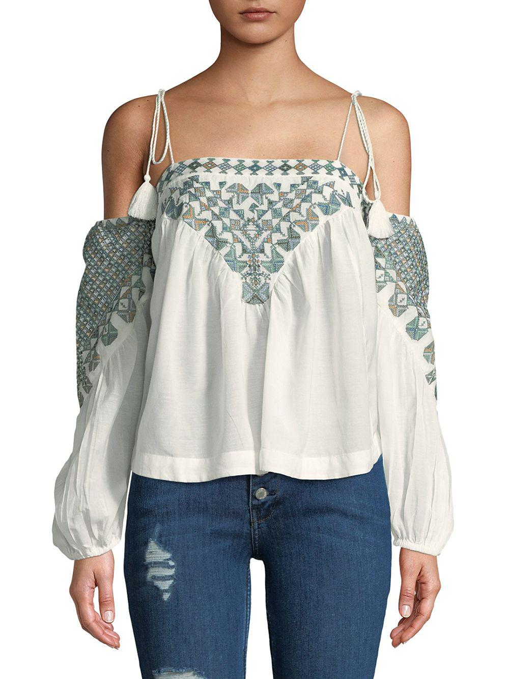 a3cd17801cae3 Free People Vacay Vibin Strappy Off-shoulder Top in White - Lyst