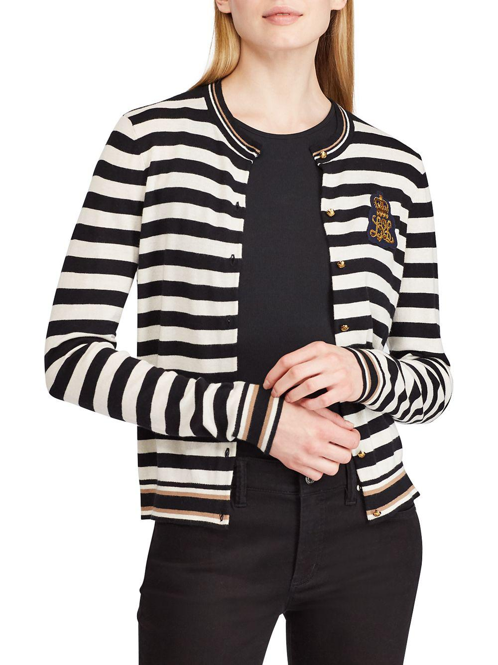 Lauren by Ralph Lauren. Women s Black Striped Bullion-patch Cardigan f19f442dc