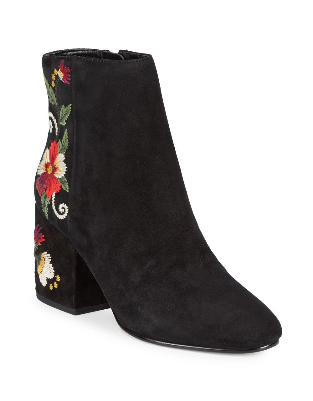 0299d9e95c0f0 Lyst - Sam Edelman Floral Suede Ankle Boots in Black