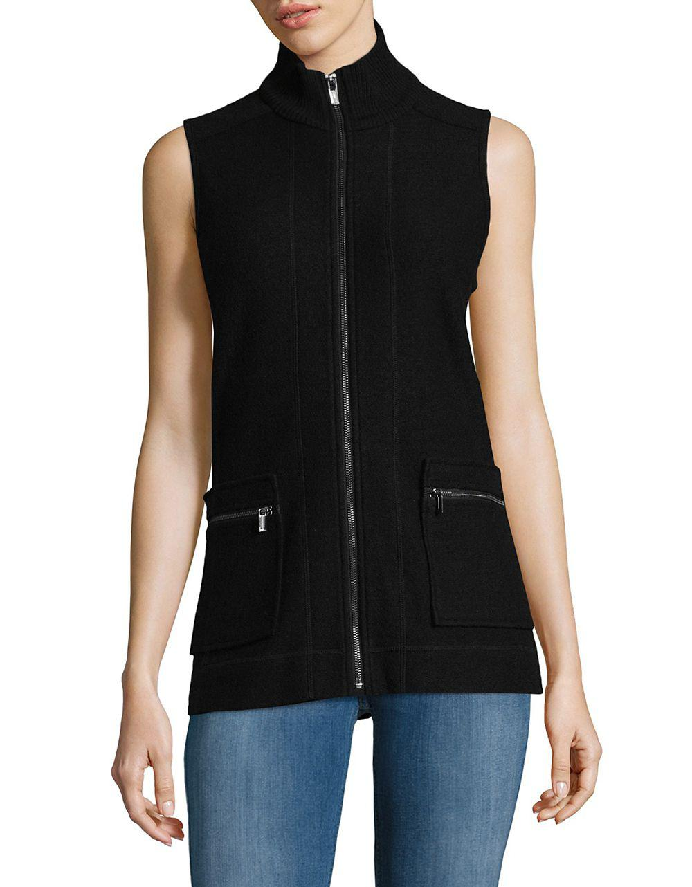 Jones new york Ribbed Sweater Vest in Black | Lyst