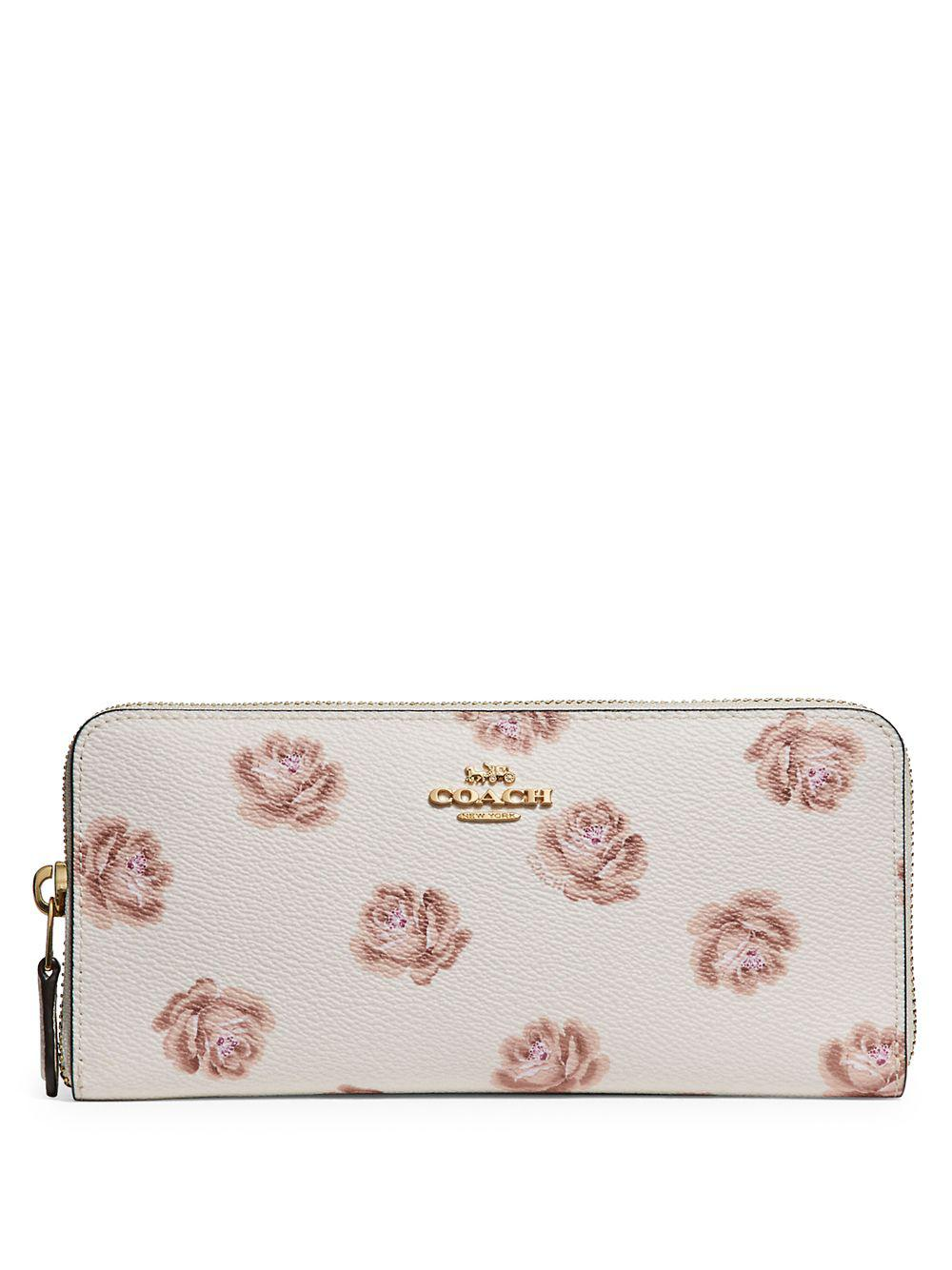 3686eefedb74 Coach Slim Accordion Canvas Continental Wallet in White - Lyst