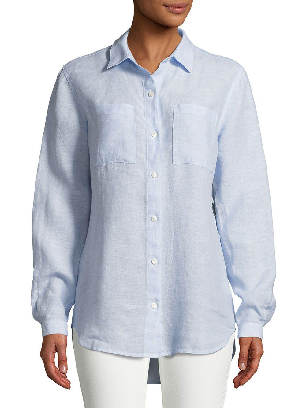 8d6a53622747e Lord   Taylor. Women s Blue Petite Tiffany Crinkle Linen Button-down Shirt