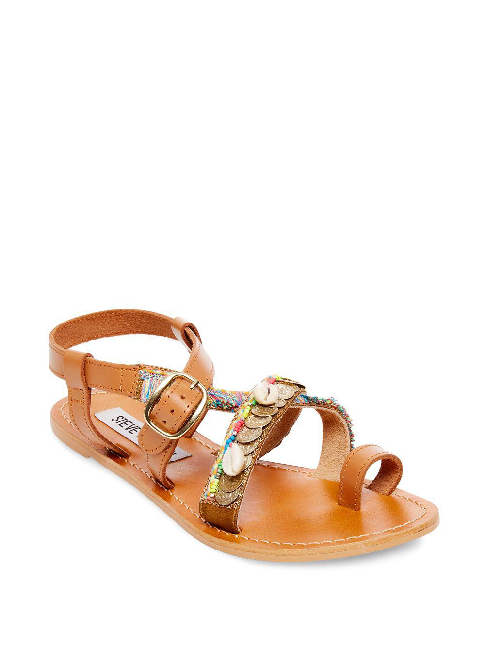 094660339a1 Steve Madden Rowen Embellished Leather Sandals in Brown - Lyst
