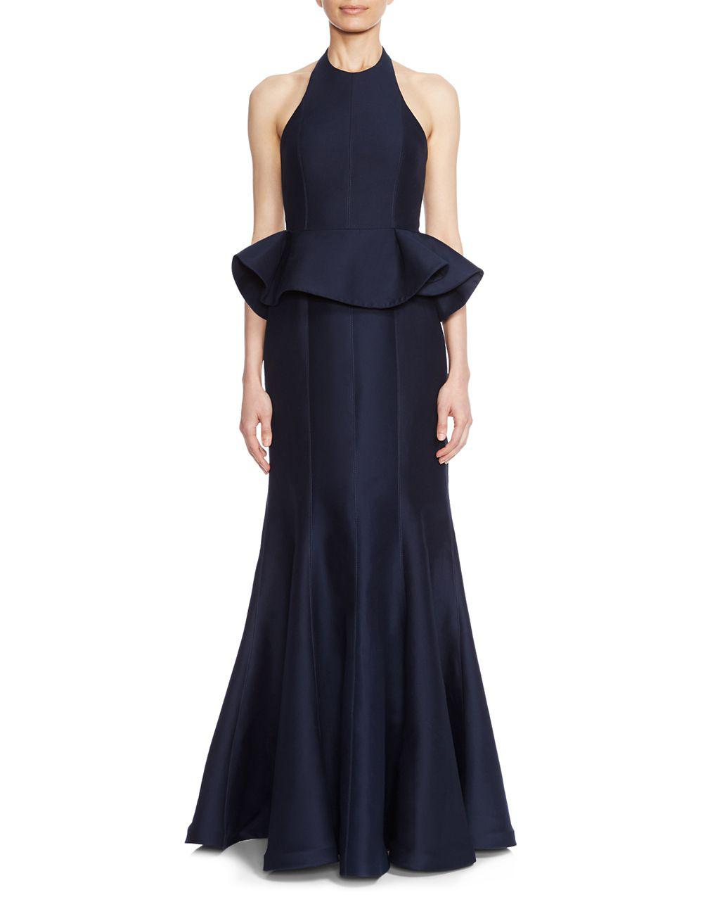 Lyst - Halston Heritage Flared Ruffled Evening Gown in Blue