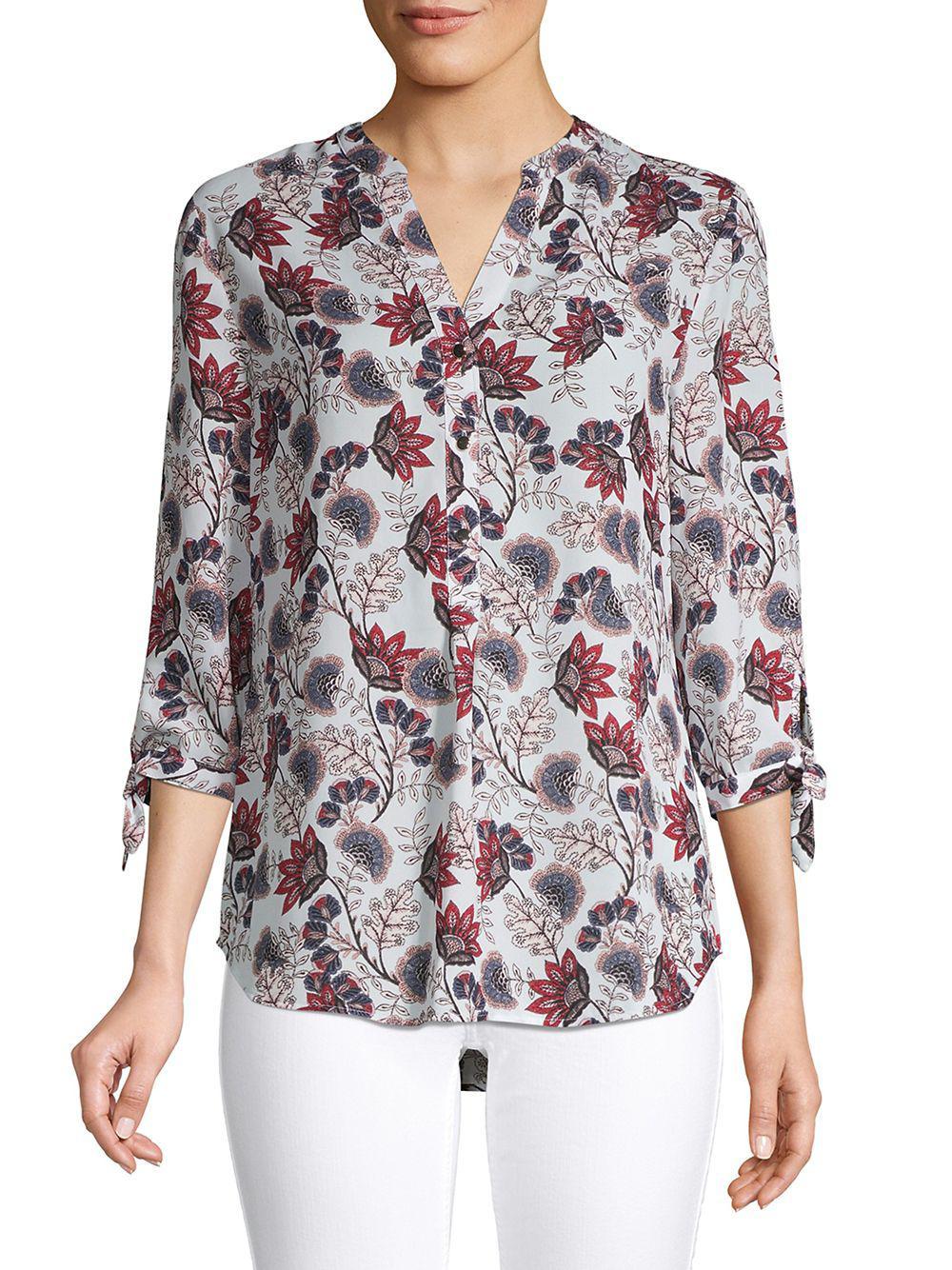 e1811c1d0385bd Lyst - Ivanka Trump Floral Tie-sleeve Blouse
