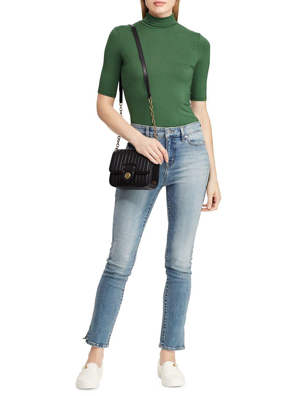 64feba80b0e16e Lauren by Ralph Lauren - Green Knit Turtleneck Top - Lyst. View fullscreen