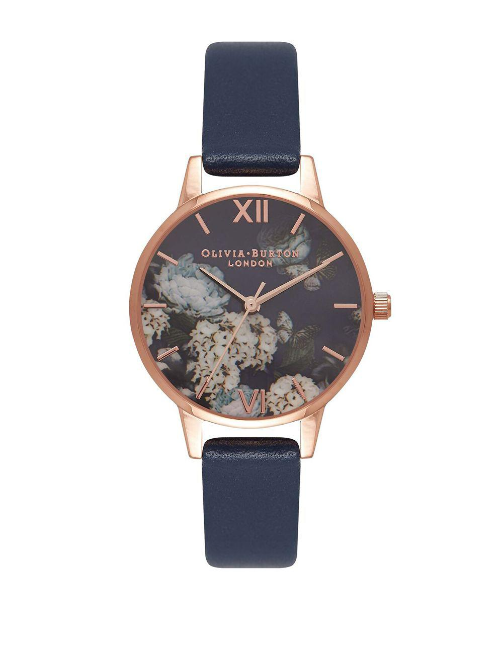a291ae5a655 Olivia Burton Signature Florals Leather Strap Watch in Blue - Lyst