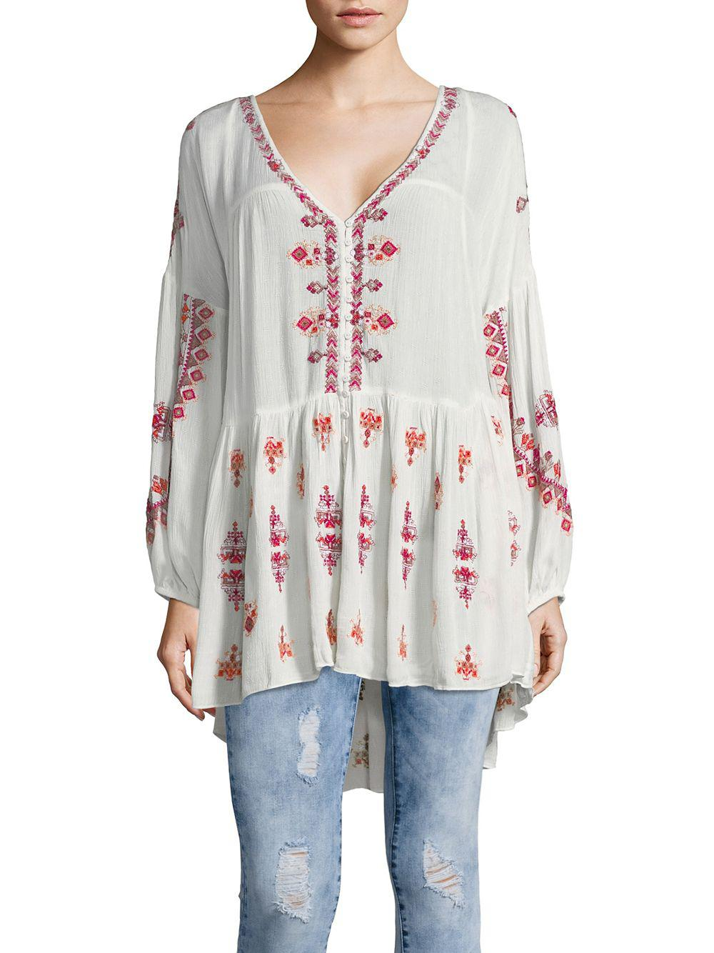 779528bfb1c Lyst - Free People The Arianna Embroidered Tunic in White