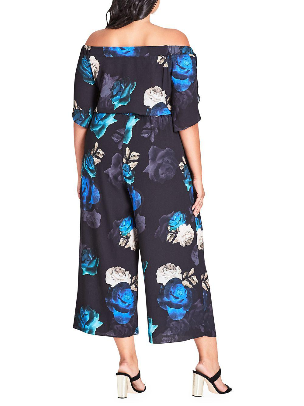 2aa805bd541 City Chic - Blue Plus Wide Leg Floral Jumpsuit - Lyst. View fullscreen
