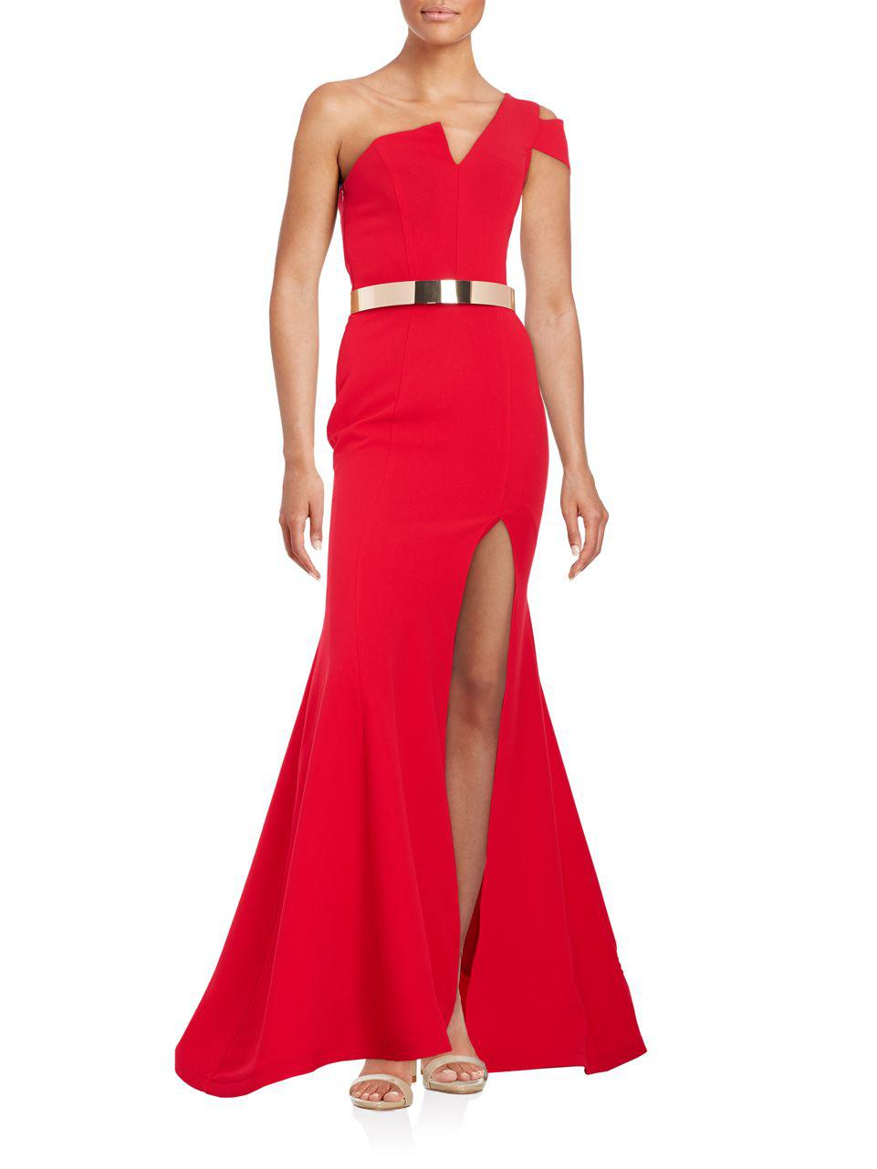 a31f2041e788 Nicole Bakti Textured One-shoulder Trumpet Gown in Red - Lyst