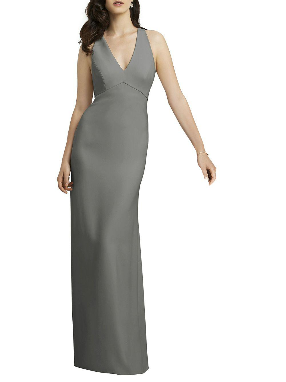 80b3c0d0ce Lyst - Dessy Collection Full-length Sleeveless Crepe Gown in Gray
