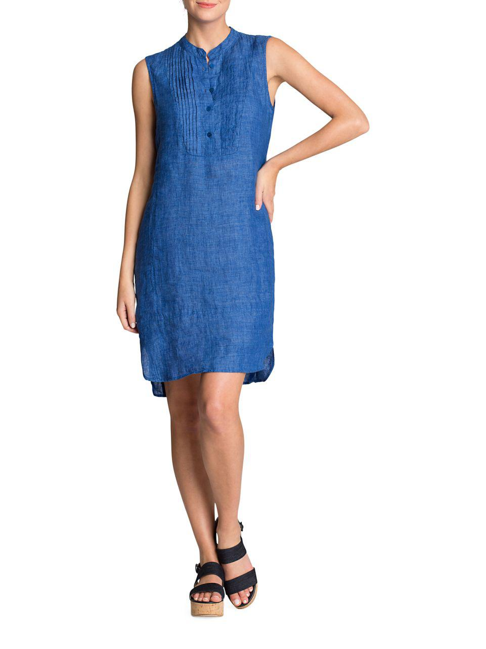 13ddcdf899f Lyst - Nic+Zoe Plus Drifty Linen Tunic Dress in Blue