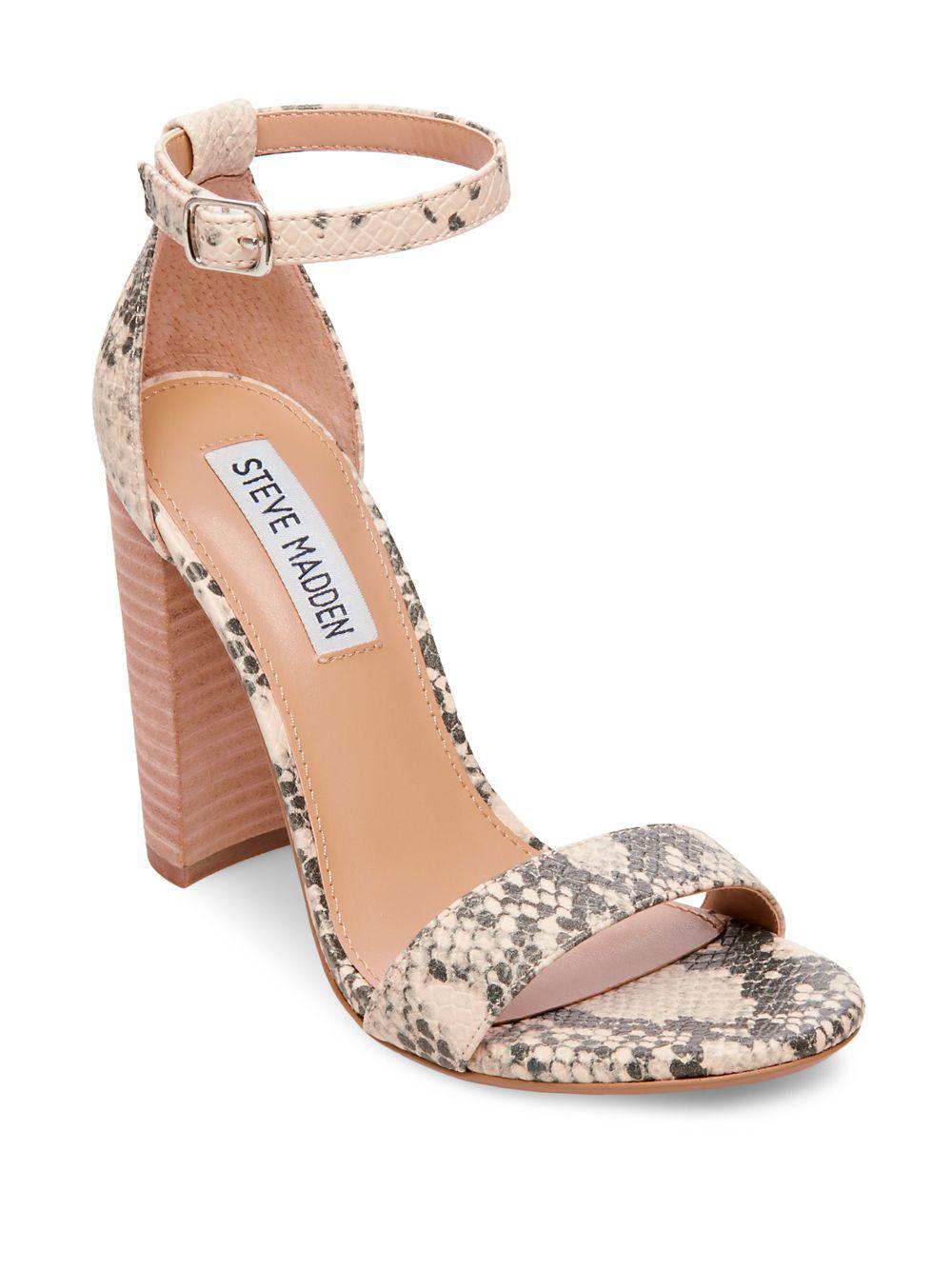 d61282e6051 Steve Madden - Gray Carrson Snake Block Heel Sandals - Lyst. View fullscreen