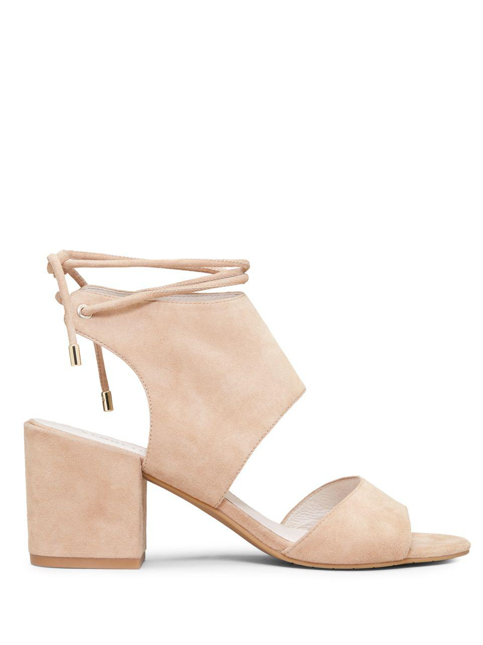 24e0acbd750f Kenneth Cole Vito Ankle-wrap Suede Block Heel Sandals in Natural - Lyst