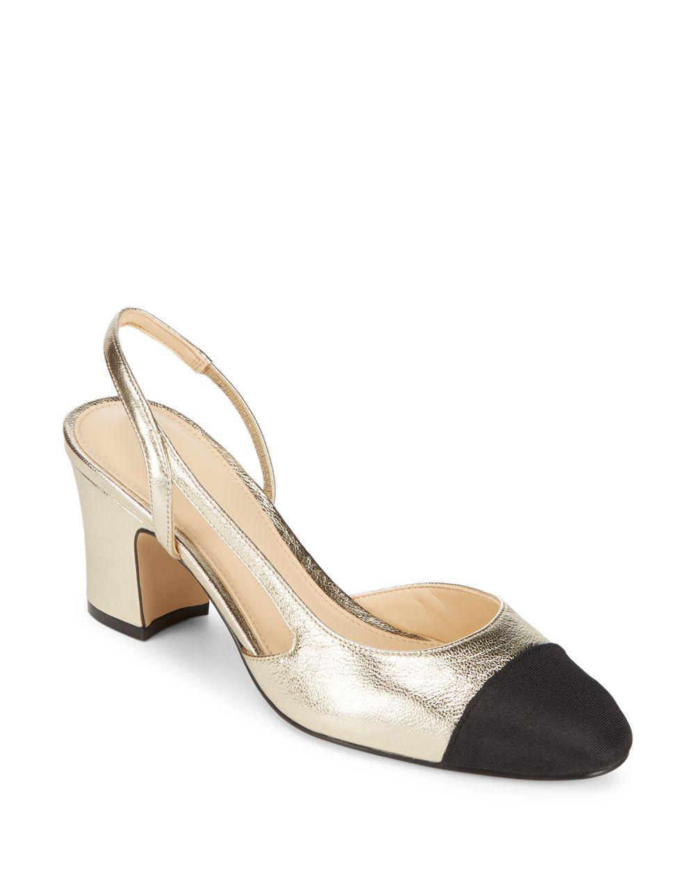 676901699 Ivanka Trump Liah Suede Slingback Pumps in Metallic - Lyst
