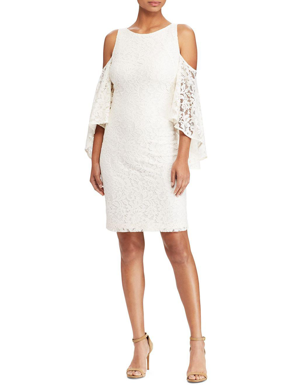 7057838a256 Lyst - Lauren By Ralph Lauren Crepe Bell-sleeve Dress in White